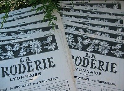 VINTAGE FRENCH EMBROIDERY MONOGRAM MAGAZINES LA BRODERIE 1960's AND 1950'S