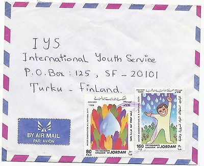Jordan 1994 water conservation stamp  on  cover to Finland