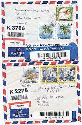 Mauritius 2005 SAINT PIERRE & ROSE HILL registered 2 cover to Finland
