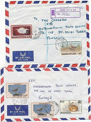 Mauritius 1992-2004 bird stamp on 4 cover to Finland