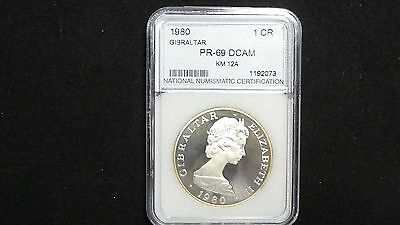 """1980 Gibraltar """"nelson 1753-1805"""" One Crown In Proof Dcam Nnc Certified"""