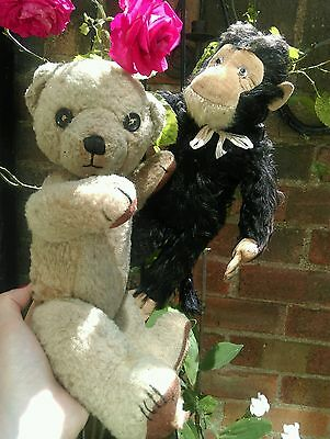 """Antique chad valley teddy bear with foot label 13"""" tall chad valley cubby bear"""