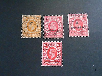 EAST AFRICA and UGANDA 4 Stamps [  3 Used and 1 Mint Never Hinged]