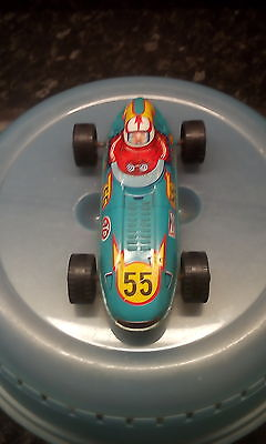 vintage tin toy racing car champion shell stp made in japan