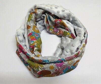 Infinity scarf. Liberty of London Susanna and silver minky.