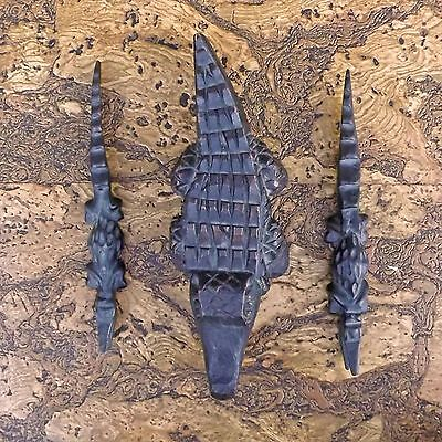 Three Hand Carved Wooden Crocodiles - Wood Crocodile Ornaments / Sculptures