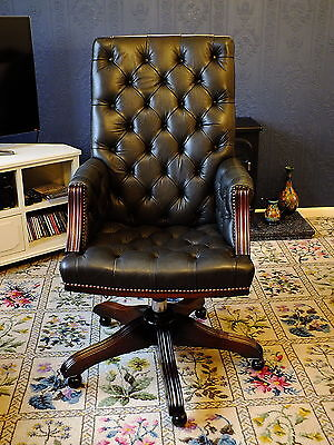 Leather Chesterfield Office Chair Antique Green By Wade Of Long Eaton