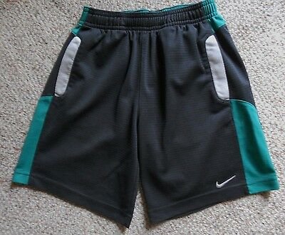 NIKE Athletic Shorts Youth Size 7 Dark Gray/Green/White EUC