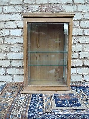 Small Antique Pine Glazed Display Cabinet Cupboard