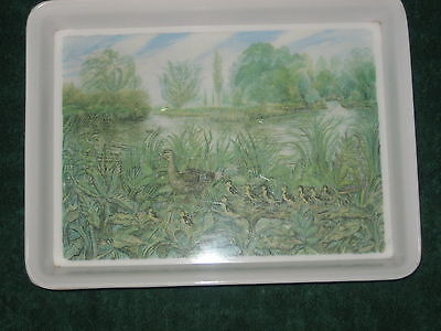 Vintage Retro Melamaster Small Tray With Lip Duck & Ducklings
