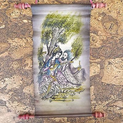 Colourful Vintage Indian or Asian Scroll Printed On Chamois Leather