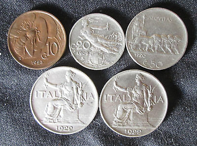 5 Different Coins from Italy: 10 centesimi to 1 lira