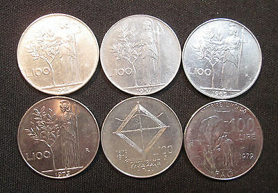 6 Different 100 Lira Coins from Italy: Athene, Marconi, FAO