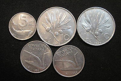 5 Different 5 and 10 Lira Coins from Italy