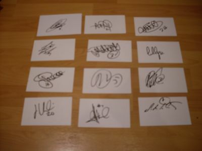 12 signed cards of ex  leicester city  footballers