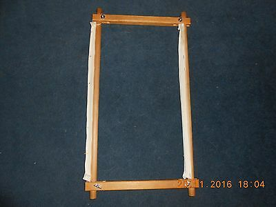 """Wooden Tapestry frame - 16.75"""" x 11"""", screw fittings, with canvas to attach work"""