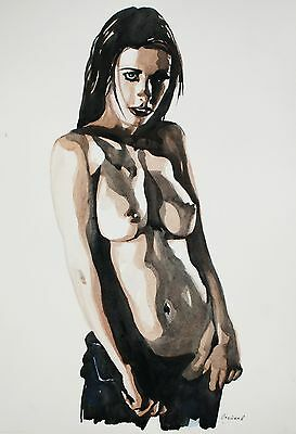 Watercoloуr painting. 19x13'' Nude art. woman. erotic female naked sgs