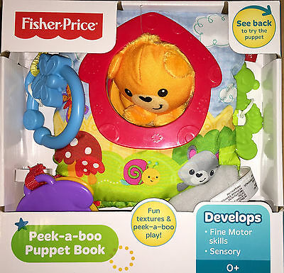 Fisher Price Peek A Boo Puppet Book Fun Textures & Play Brand New Cgp01
