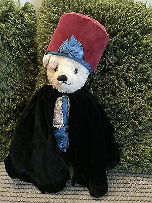Rare Chad Valley 1930's Teddy Bear with Label & All Original Outfit - cape, hat