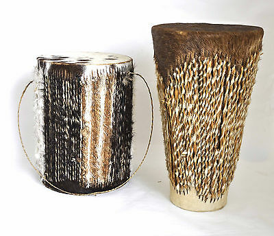 Vintage Pair of Traditional African Goat Skin Drums