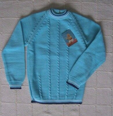 Vintage Girls Jumper - 5-6 Years Approx - Turquoise - Navy Stripe Trim - New