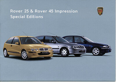 Rover 25 & 45 Olympic Impression Special Editions Brochure & Price List 2002