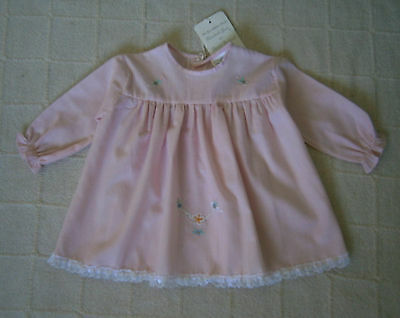 Vintage Baby Dress - Age 6-12 months - Pink Fine Lawn - Embroidered -  New