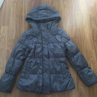 Marks & Spencer. Grey Hooded Puffa Style 3/4 Length Coat Age 9/10 Years