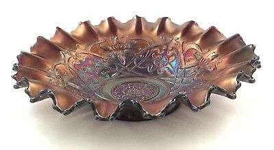 "Antique Northwood ""Wishbone"" Carnival Glass Ruffled Bowl, Pie Crust Edge"