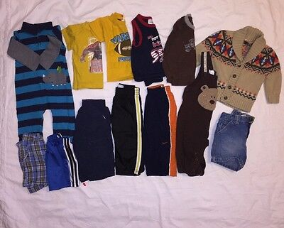 Boys Lot of Clothes 12 Months Baby Toddler Pants Sweater Romper Shirts EUC 132