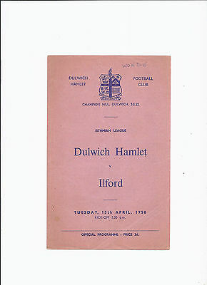 Dulwich Hamlet v Ilford 15 April 1958 Isthmian League