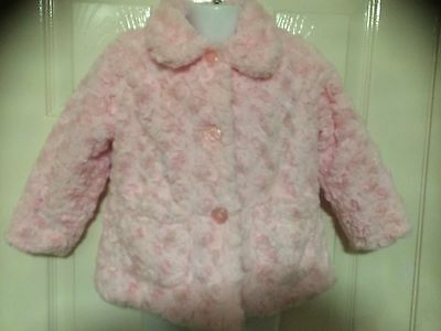 YOUNG DIMENSION little girls pink (rose swirl) faux fur coat/jacket.18/24 months