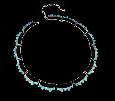 vintage Ocampo Mexican silver Necklace Taxco sterling black onyx and azurite