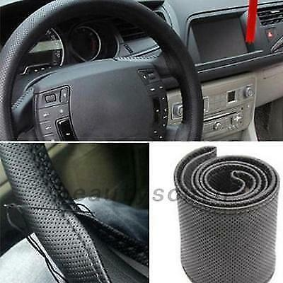 Vehicle Car Truck PU Leather Steering Wheel Cover Needles Thread DIY Made Tool