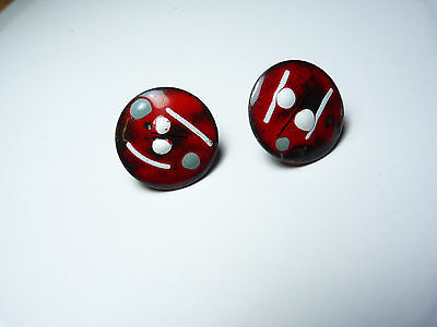 Vintage copper metal red gray black white fused enamel screw back earrings