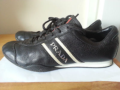 PRADA mens black leather lace up trainers, size 7.5 UK   GREAT