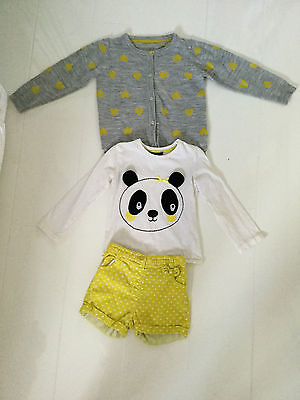 George Girls Yellow, Spotted Panda Design Outfit-Cardigan, Shorts & Top Age 3-4