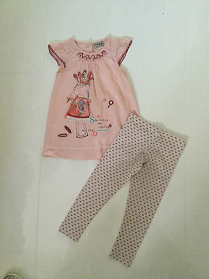 Next Pink 'She Sells Sea Shells' Design Dress And Leggings Outfit - Age 3-4 Yrs
