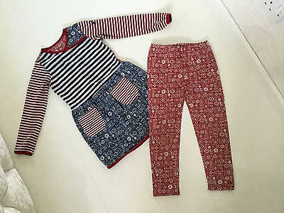 Oilily Red, White & Blue Fairisle Design Dress And Leggings Outfit - Age 5 Yrs