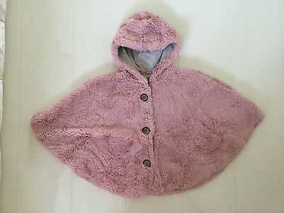 Next Pink Soft Faux Fur Poncho Style Jacket With Hood – Age 3-4 104Cm