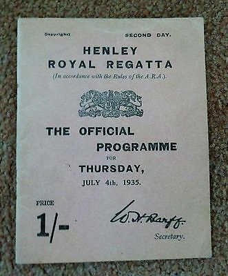 1935 Henley Royal Regatta programme July 4th