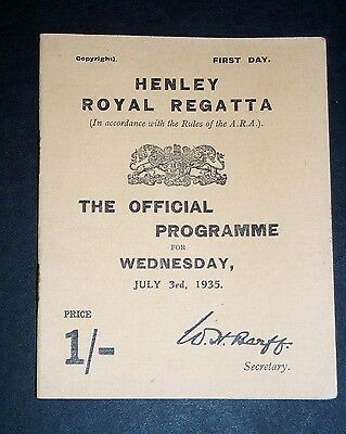 1935 Henley Royal Regatta programme July 3rd