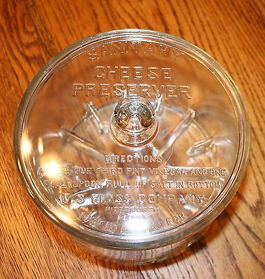 Antique 1930's Glass Sanitary Cheese Preserver Jar Store Display Home Kitchen