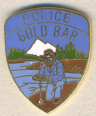 Gold Bar Police Service Pin Ancient Prototype USA Law Enforcement
