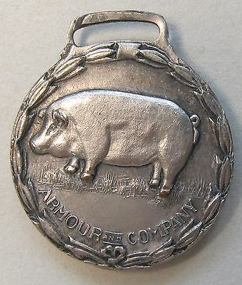 1925 ARMOUR COMPANY Fargo ND Plant opening PIG original watch fob *