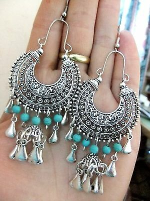 Kuchi Hoop Earrings Ethnic Turquoise Tribal Jewelry Bohemian Vintage Gypsy Retro
