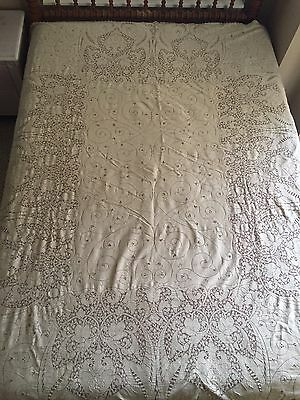 "Beautiful Vintage Ecru Quaker Lace Tablecloth 80"" by 65"""
