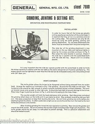 Authentic Original GENERAL Woodworking Machinery Jointer Knife Grinder Manual