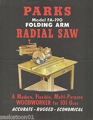 Authentic Original PARKS Woodworking FA-190 Radial Arm Saw ANNOUNCEMENT PACKAGE