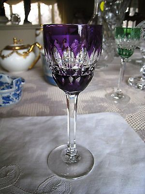 Baccarat Crystal..piccadilly Cut Cordial..one Amethyst Cut To Clear Glass .nice